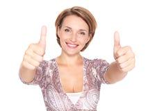 Portret van een mooie volwassen gelukkige vrouw met thu Stock Fotografie