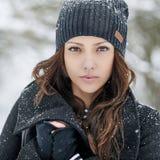 Portret van een mooie vrouw in de winter Royalty-vrije Stock Fotografie