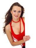 Portret van een mooie vrouw die een blanco wissel houdt Royalty-vrije Stock Foto's