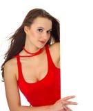 Portret van een mooie vrouw die een blanco wissel houdt Stock Foto's