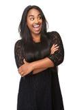 Portret van een mooie vrouw met grappige uitdrukking Royalty-vrije Stock Foto
