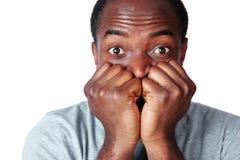 Portret van een nerveous Afrikaanse mens Stock Afbeelding