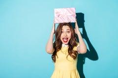 Portret van een opgewekt meisje die in kleding huidige doos houden Stock Fotografie