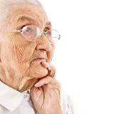 Het portret van de oude dame Royalty-vrije Stock Afbeeldingen
