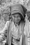 Portret van een oude vrouw met mooie glimlach het dragen doko stock afbeelding