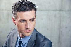 Portret van een peinzende zakenman stock afbeeldingen