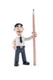 Portret van een plasticinemens met potlood Stock Afbeelding