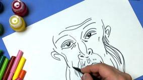 Portret van een potlood stock footage