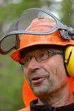 Portret van een prachtige, gelukkige houthakker Stock Foto's