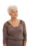 Portret van een propere, versierings oude dame. royalty-vrije stock foto