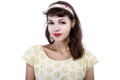 Portret van een Retro Meisje op een Witte Achtergrond royalty-vrije stock fotografie