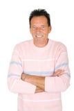 Portret van een rijpe oude glimlachende mens Stock Foto