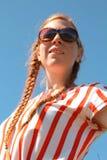 Rood haarmeisje met vlecht Royalty-vrije Stock Foto's