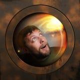 Portret van een ruimtevaarder in een ruimteschip Stock Foto's