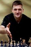 Portret van een schaakspeler stock afbeeldingen