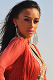 Portret van een schitterende donkerbruine vrouw in rode kleding Royalty-vrije Stock Foto's