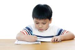 Portret van een schooljongen die zijn thuiswerk doet Royalty-vrije Stock Afbeelding