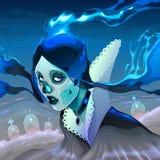 Portret van een spookmeisje in de begraafplaats royalty-vrije illustratie
