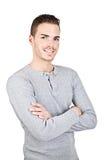 Portret van een sportieve jonge die mens op wit wordt geïsoleerd Stock Afbeeldingen
