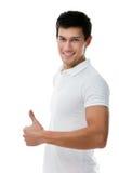 Portret van een sportieve mens die omhoog beduimelen Stock Afbeeldingen