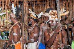 Portret van een stam van Strijdersasmat in traditioneel hoofddeksel Stock Fotografie