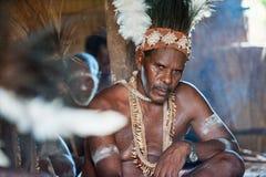 Portret van een stam van Strijdersasmat in traditioneel hoofddeksel Royalty-vrije Stock Foto