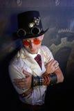 Portret van een stoom punkmens royalty-vrije stock fotografie
