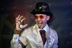 Portret van een stoom punkmens royalty-vrije stock foto