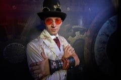 Portret van een stoom punkmens royalty-vrije stock afbeelding