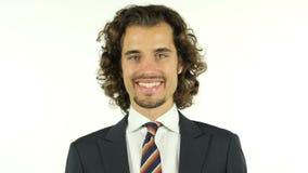 Portret van een succesvolle zakenman met een betrouwbare glimlach stock video