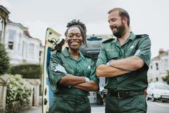 Portret van een team van paramedici royalty-vrije stock afbeelding