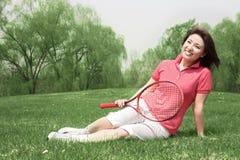 Portret van een tennismeisje Stock Afbeelding
