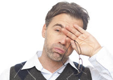Portret van een uitgeputte mens Stock Foto's