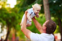 Portret van een vader en een baby stock foto