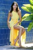 Portret van een verleidelijk vrouwelijk model in gele ontwerperkleding Royalty-vrije Stock Afbeelding