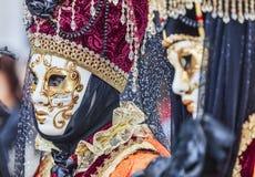 Portret van een Vermomde Persoon - Venetië Carnaval 2014 Stock Foto's