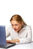 Portret van een verraste bedrijfsvrouw Stock Foto