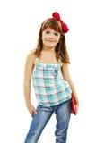 Portret van een vrolijk meisje met een zak stock foto