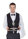 Portret van een vrolijke jonge butler Royalty-vrije Stock Afbeelding