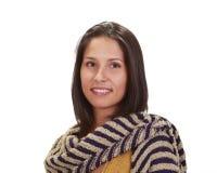 Portret van een vrouw met een sjaal stock afbeelding