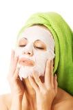 Portret van een vrouw met gezichtsmasker Stock Fotografie