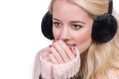 Portret van een vrouw met oorbeschermers royalty-vrije stock afbeelding