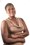 Portret van een Vrouw op Wit stock afbeeldingen