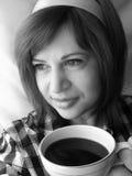 Portret van een vrouw in zwart-wit Royalty-vrije Stock Foto's
