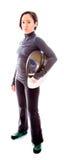 Portret van een vrouwelijke schermer die het schermen dragen Stock Fotografie