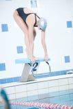 Portret van een vrouwelijke zwemmer Stock Foto's