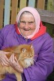 Portret van een zeer oude vrouw Stock Fotografie
