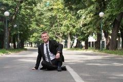 Portret van een Zekere Zakenman Outdoors In Park royalty-vrije stock foto
