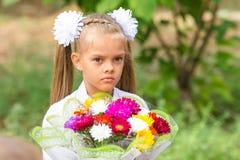 Portret van een zevenjarig schoolmeisje met groot boeket in handen Stock Afbeelding