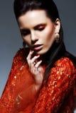 Portret van Elegante Heldere Brunette in Rode Glanzende Kleding. Luxe stock afbeelding